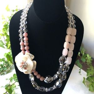 Jewelry - Rose Quartz mother of Pearl crystals Necklace